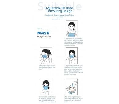 3-х слойная одноразовая медицинская маска для лица - 10 штук