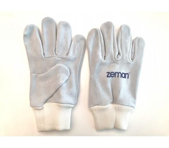 ZEMAN® TIG قفازات عمل من الجلد الكامل مع سوار محبوك - طبيعي