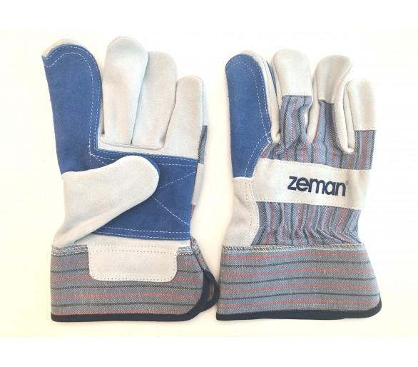 ZEMAN® CANADIAN luvas de trabalho em couro com palma reforçada - Natural / Azul
