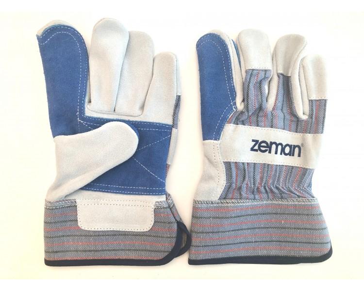 ZEMAN® CANADIAN kožené pracovní rukavice se zesílenou dlaní - Natural / Modrá