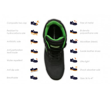 DUNLOP First One Adv EVO High Plus - buty robocze i ochronne czarno-szary