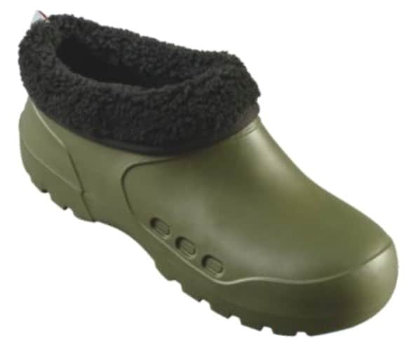 Camminare GALOSH Clog with Fur Olive work and safety EVA rubber clog