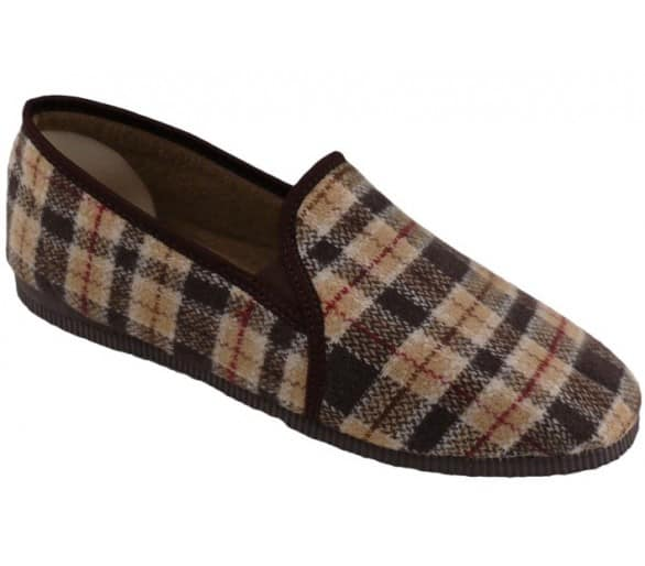 Slippers brown checkered men's