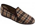 Hnědé káro papuče pánská