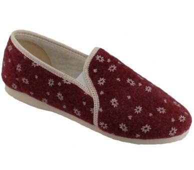 Bordó mokasínové papuče dámské