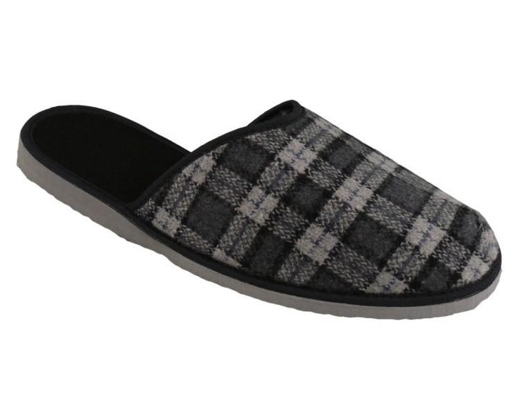 Šedé káro nazouvací papuče pánská