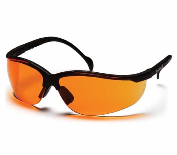 Venture II ESB1840S, ochranné brýle, černé obruby, jasně oranžové