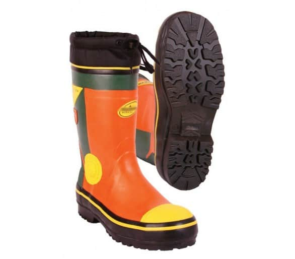 LOGGER SUMMER safety rubber boots for working with a chainsaw