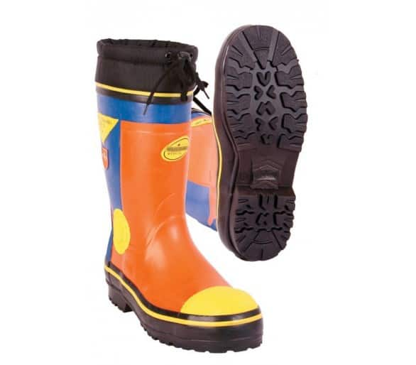 LOGGER WINTER safety rubber boots for working with a chainsaw